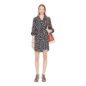 Kate Spade silk floral tie waist shirt dress